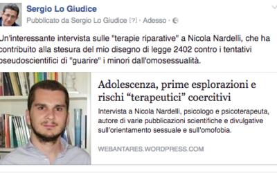 """Intervista a Nicola Nardelli sulle """"terapie riparative"""""""