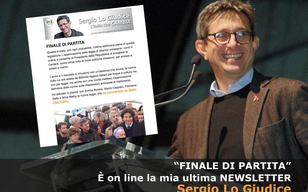 Newsletter Sergio Lo Giudice – Finale di partita