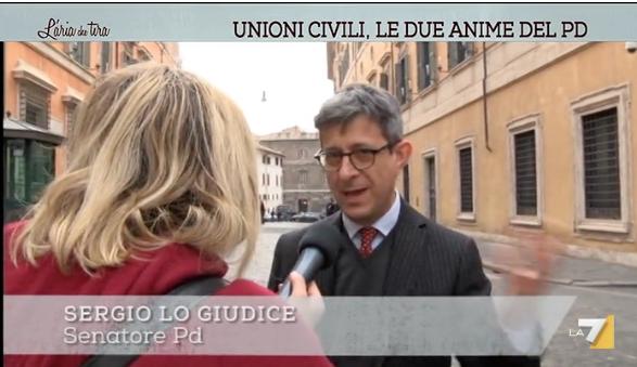 Unioni civili. Intervista a L'Aria che Tira, La7